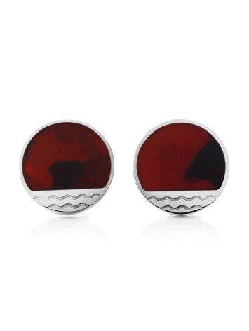 Flat Round Silver Studs With Amber The Monaco, image