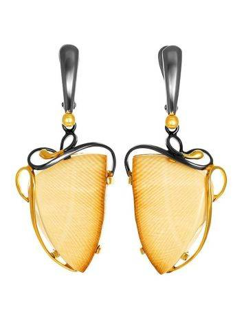 Amazing Gold-Plated Earrings With Genuine Mammoth Tusk The Era, image