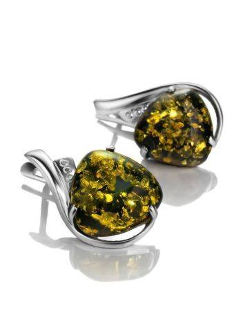 Green Amber Silver Earrings The Acapulco, image
