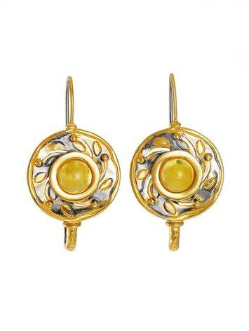 Bold Gold-Plated Earrings With Honey Amber The Aida, image