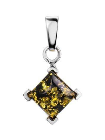 Bright Square Amber Pendant In Silver The Artemis, image