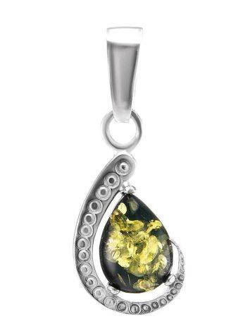 Elegant Silver Pendant With Green Amber Center Stone, image