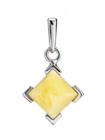 Geometric Amber Pendant In Silver The Artemis, image