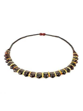 Amber Flat Beaded Necklace The Cleopatra, image , picture 3