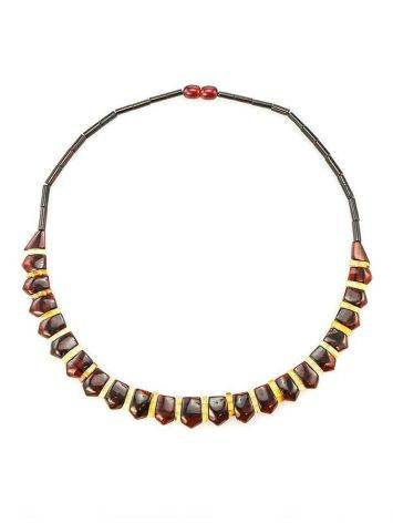 Amber Flat Beaded Necklace The Cleopatra, image , picture 4