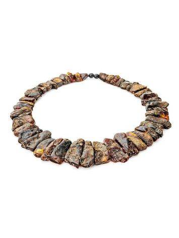 Bold Amber Flat Beaded Necklace The Volcano, image , picture 4