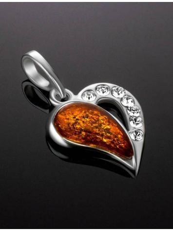 Silver Heart Pendant With Amber And Crystals The Declaration, image , picture 2