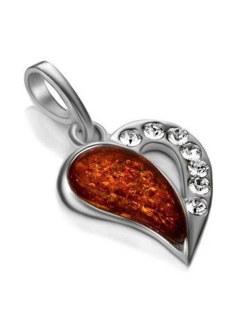 Silver Heart Pendant With Amber And Crystals The Declaration, image , picture 3