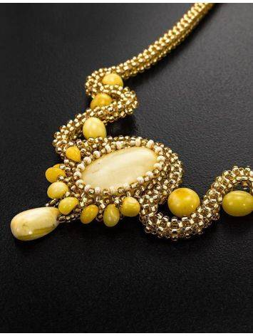 Braided Necklace With Amber And Glass Beads The Fable, image , picture 2