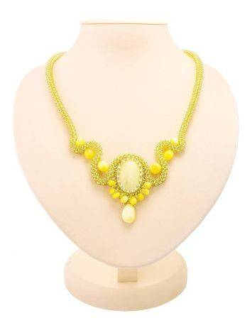 Braided Necklace With Amber And Glass Beads The Fable, image