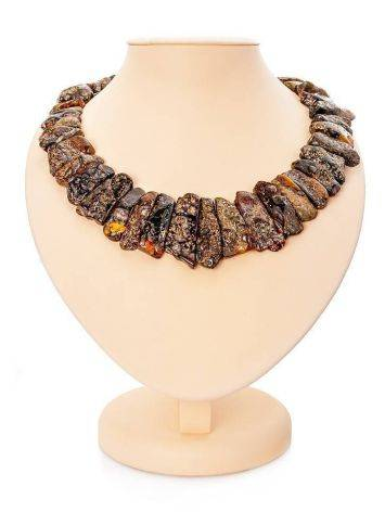 Bold Amber Flat Beaded Necklace The Volcano, image
