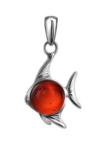 Silver Fish Pendant With Cherry Amber, image