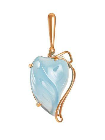 Bold Golden Pendant With Synthetic Chalcedony The Serenade, image