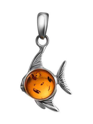 Silver Fish Pendant With Cognac Amber, image