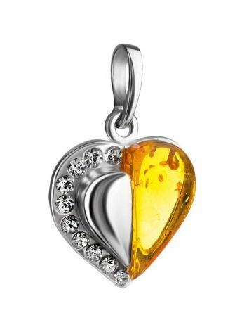 Sterling Silver Heart Pendant With Amber And Crystals The Declaration, image