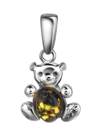 Silver Teddy Bear Pendant With Green Amber, image