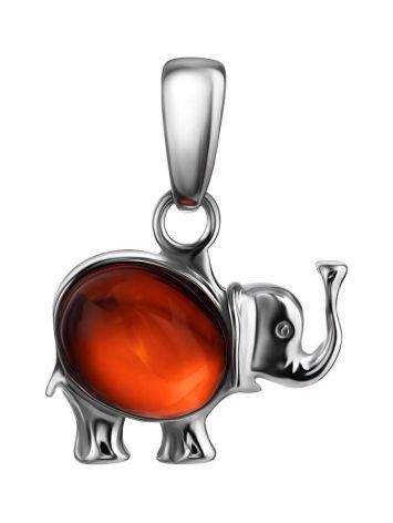 Silver Elephant Pendant With Cherry Amber, image