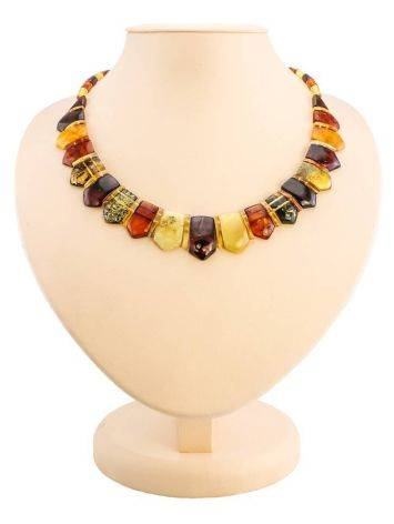 Natural Amber Flat Beaded Necklace The Cleopatra, image