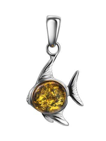 Silver Fish Pendant With Green Amber, image