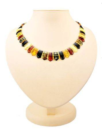 Amber Flat Beaded Necklace The Cleopatra, image