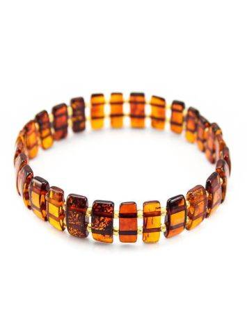 Cognac Amber Flat Beaded Bracelet, image , picture 2