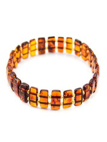 Cognac Amber Flat Beaded Bracelet, image , picture 3