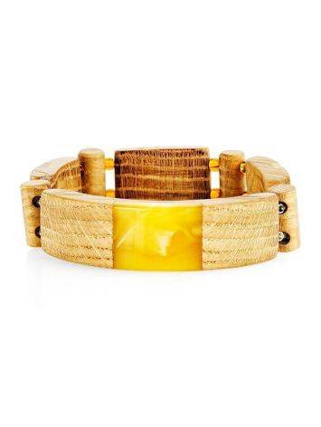 Wooden Flat Beaded Bracelet With Honey Amber The Indonesia, image , picture 4