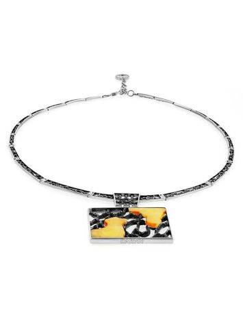 Sterling Silver Necklace With Cloudy Amber The Lava, image , picture 4