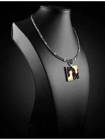 Sterling Silver Necklace With Cloudy Amber The Lava, image , picture 2