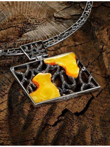 Sterling Silver Necklace With Cloudy Amber The Lava, image , picture 3