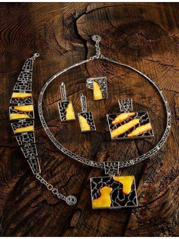 Sterling Silver Necklace With Cloudy Amber The Lava, image , picture 6