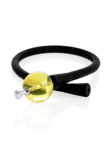 Black Silicone Bracelet Decorated With Natural Amber The Hawaii, image , picture 3
