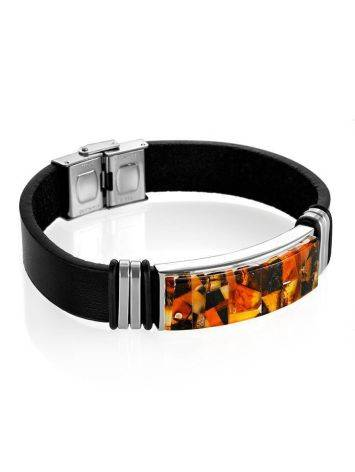 Leather Mens Wristband With Amber Mosaic The Grunge, image , picture 3