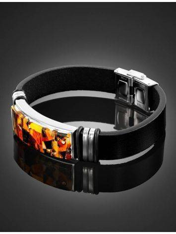 Leather Mens Wristband With Amber Mosaic The Grunge, image , picture 2