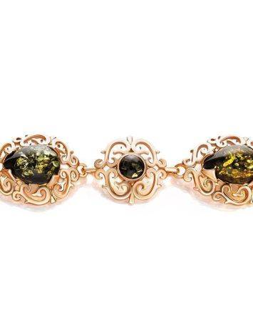 Gold-Plated Link Bracelet With Green Amber The Luxor, image , picture 3