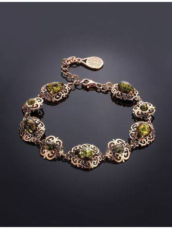 Gold-Plated Link Bracelet With Green Amber The Luxor, image , picture 2