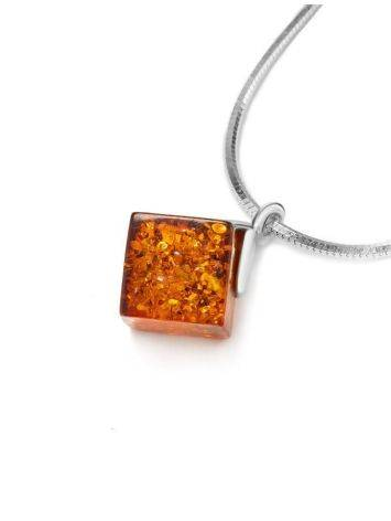 Silver Necklace With Geometric Amber Pendant The Sugar, image , picture 3