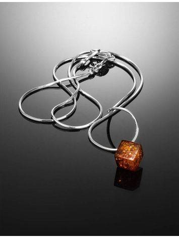 Silver Necklace With Geometric Amber Pendant The Sugar, image , picture 2