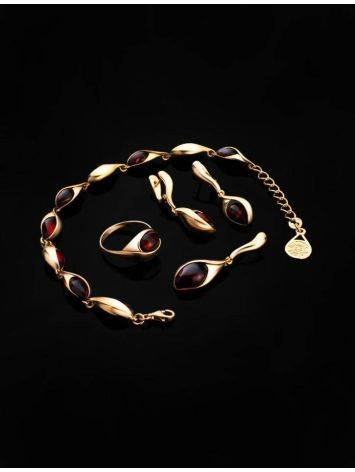 Gold Plated Amber Link Bracelet The Peony, image , picture 5
