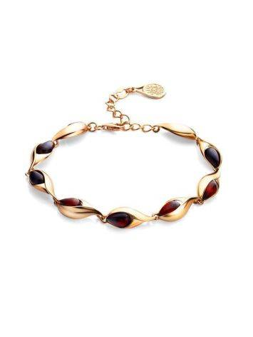 Gold Plated Amber Link Bracelet The Peony, image , picture 4