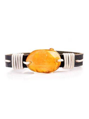 Leather Tie Bracelet With Honey Amber The Copacabana, image , picture 3