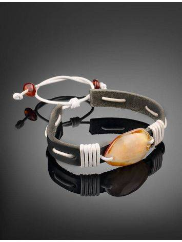 Leather Tie Bracelet With Honey Amber The Copacabana, image , picture 2