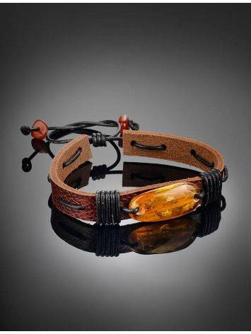 Cognac Amber Leather Bracelet The Copacabana, image , picture 2