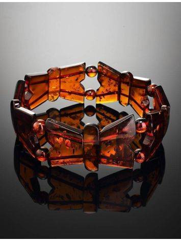 Cognac Amber Stretch Bracelet The Butterfly, image , picture 2