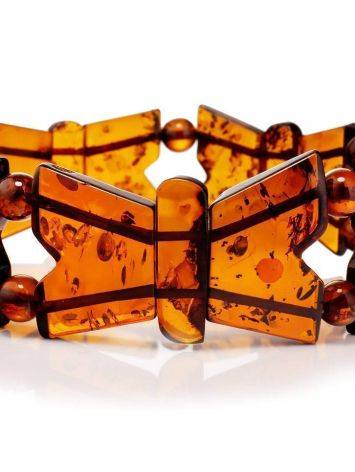 Cognac Amber Stretch Bracelet The Butterfly, image , picture 4