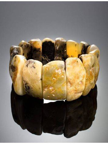 Unpolished Amber Stretch Bracelet The Volcano, image , picture 2