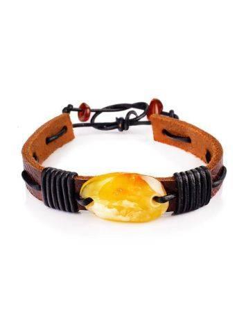 Honey Amber Leather Tie Bracelet The Copacabana, image