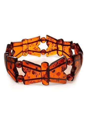 Cognac Amber Stretch Bracelet The Butterfly, image