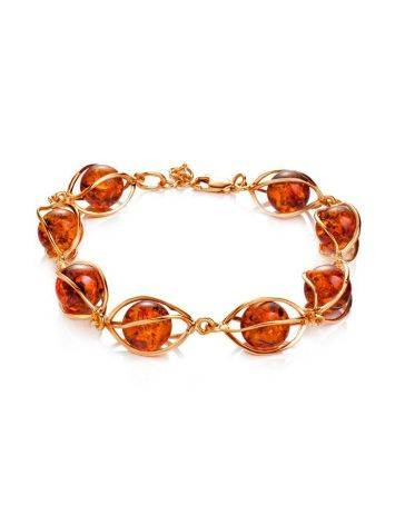 Cognac Amber Link Bracelet In Gold-Plated Silver The Algeria, image