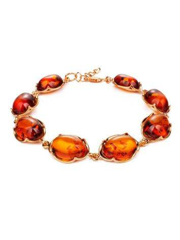 Gold-Plated Silver Link Bracelet With Cognac Amber The Lyon, image